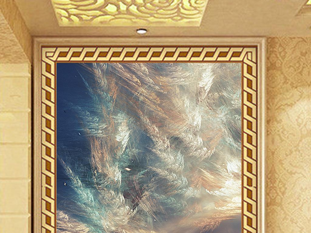 欧式大气天空艺术大理石图案玄关背景墙