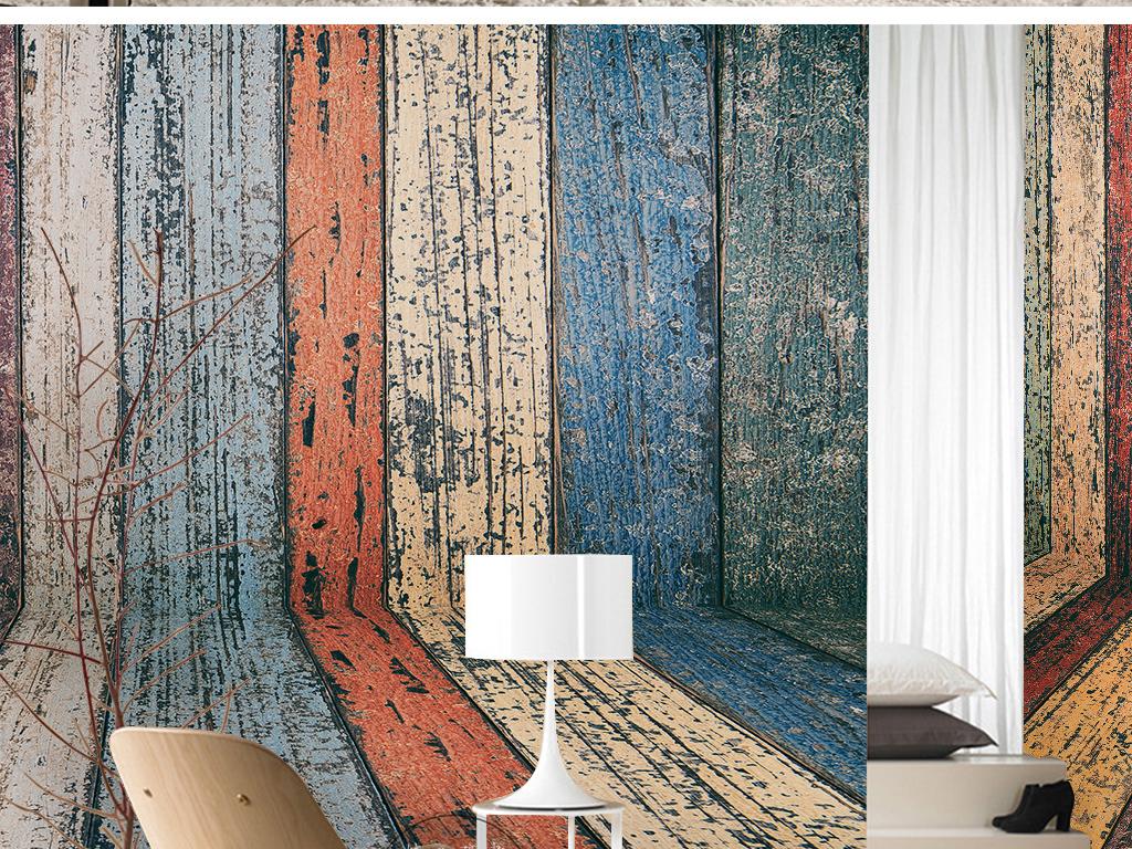 欧式复古时尚撞色油漆木板纹理手绘墙纸
