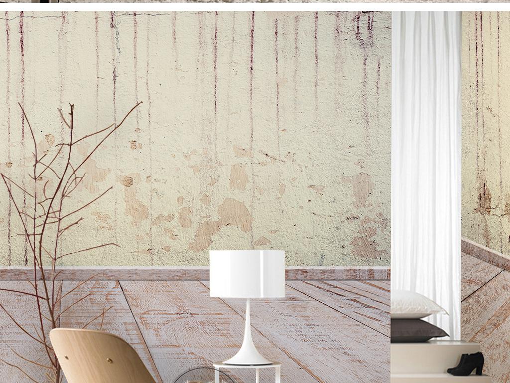 新中式复古时尚素雅抽象墙壁木板纹理墙纸图片