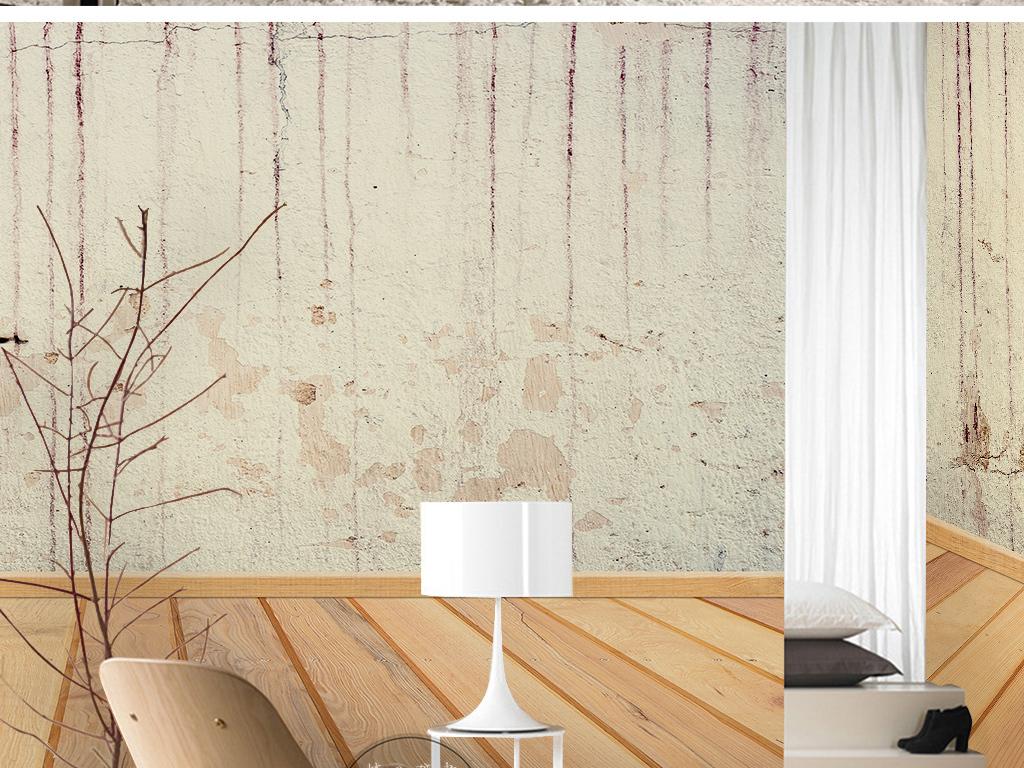 水墨中国风新中式复古墙壁木板纹理手绘墙纸图片