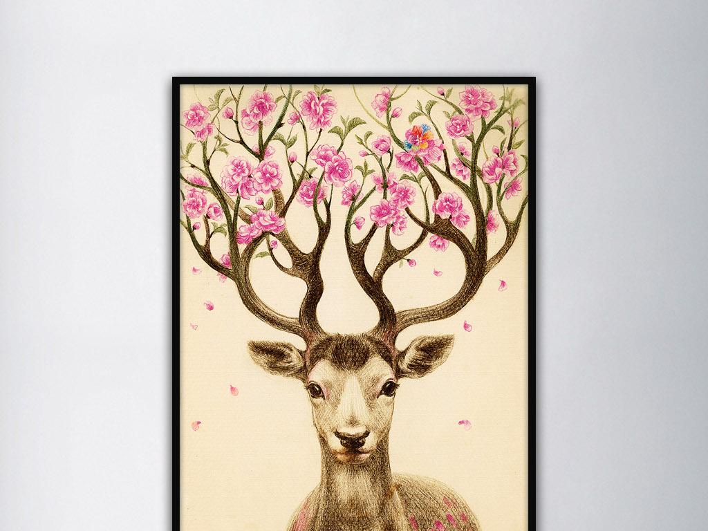 头上开满桃花的麋鹿现代欧美复古家居装饰画