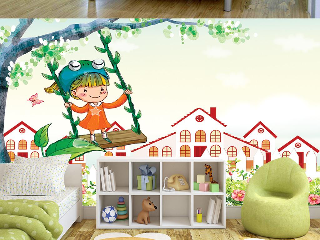 手绘卡通小孩荡秋千儿童房间背景墙