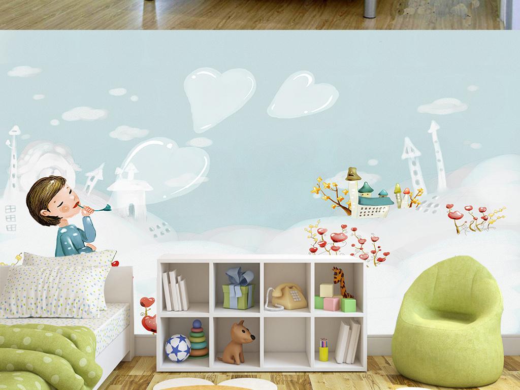 手绘卡通冰天雪地儿童房间背景墙