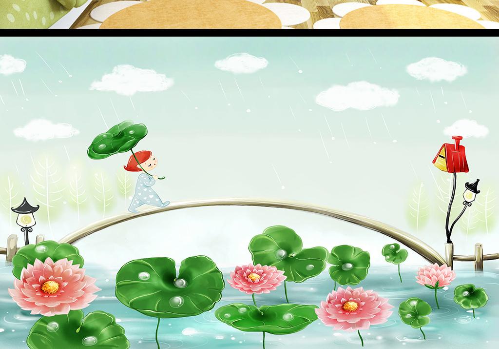 手绘卡通动漫儿童房间背景墙