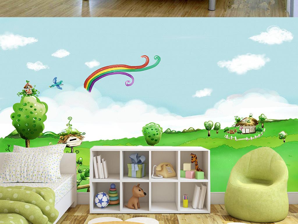 手绘卡通草原儿童房间背景墙