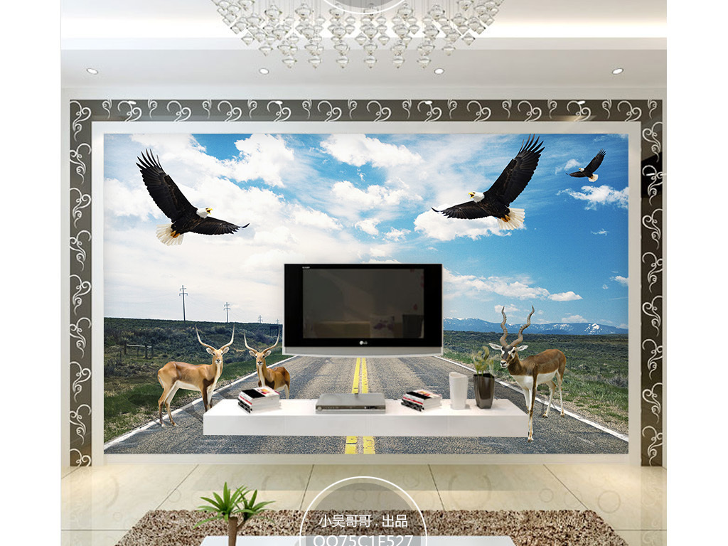 高速公路小鹿动物装饰壁画背景墙