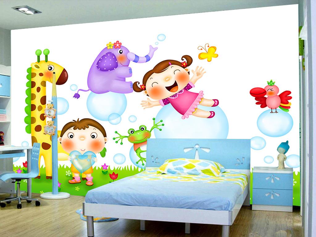 卡通可爱动物小孩儿童房间背景墙