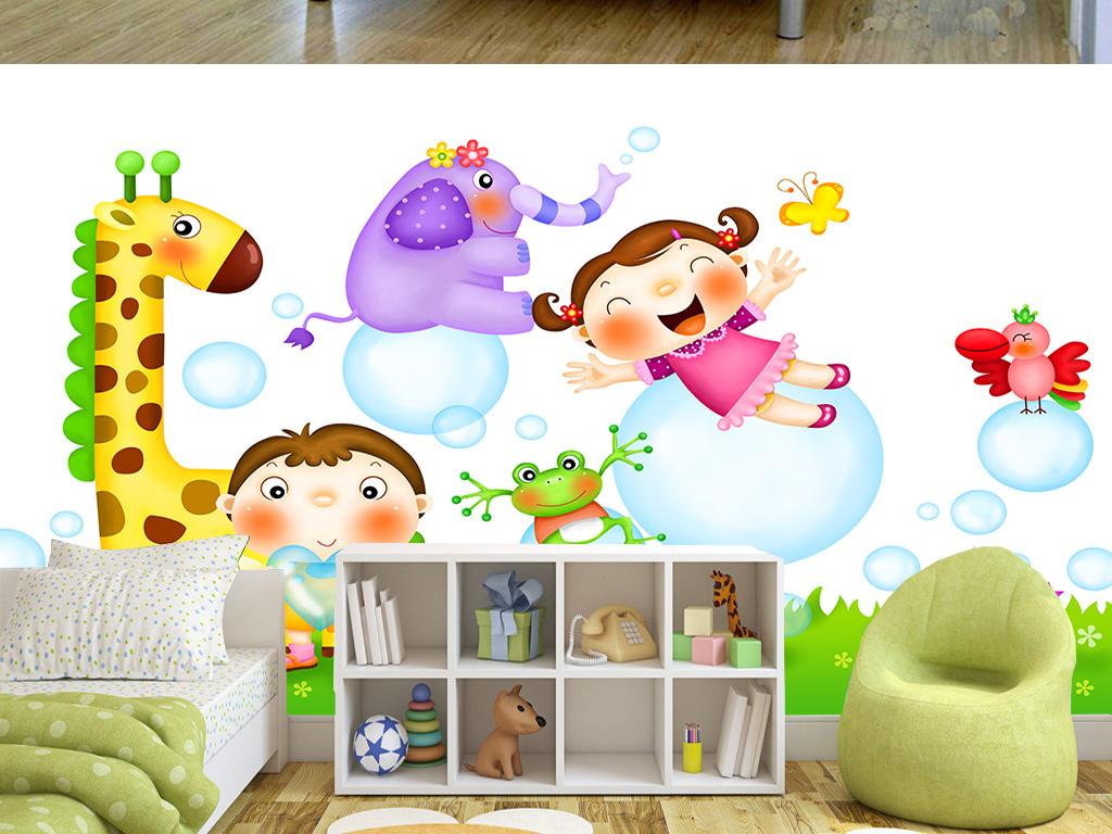 背景墙 装饰画 电视背景墙 儿童房背景墙 > 卡通可爱动物小孩儿童房间