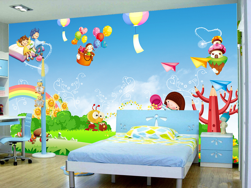 卡通动漫气球儿童房间背景墙