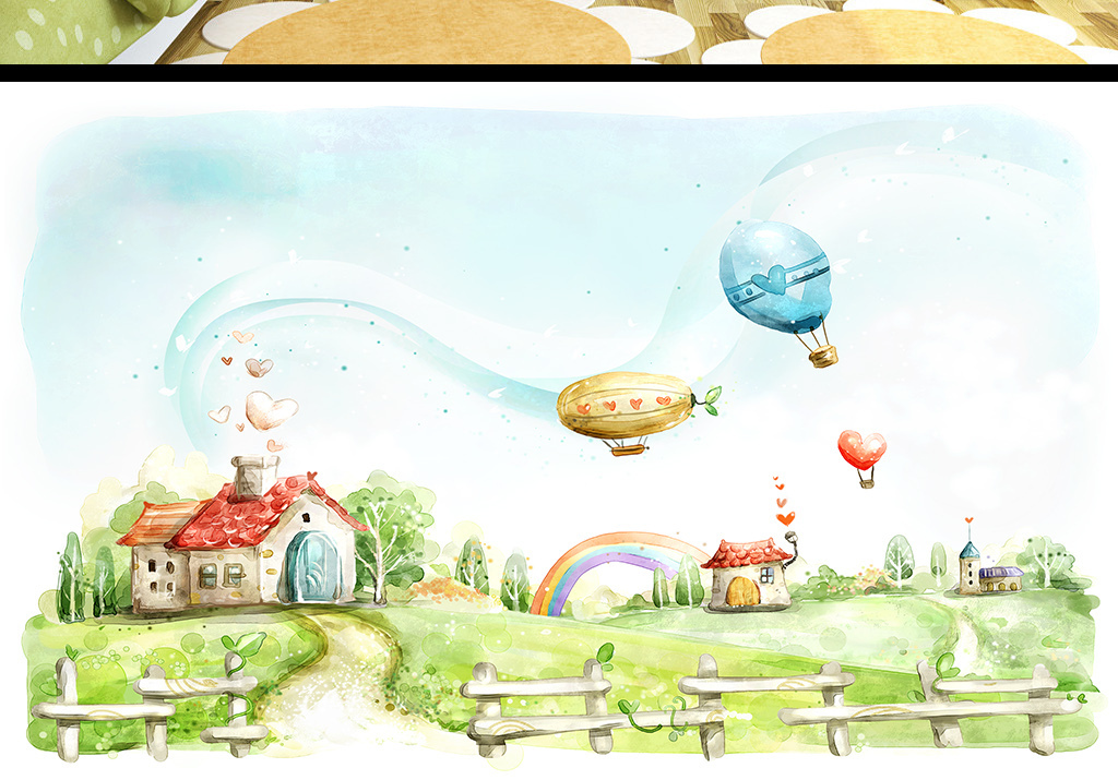 手绘花卉热气球儿童房间背景墙