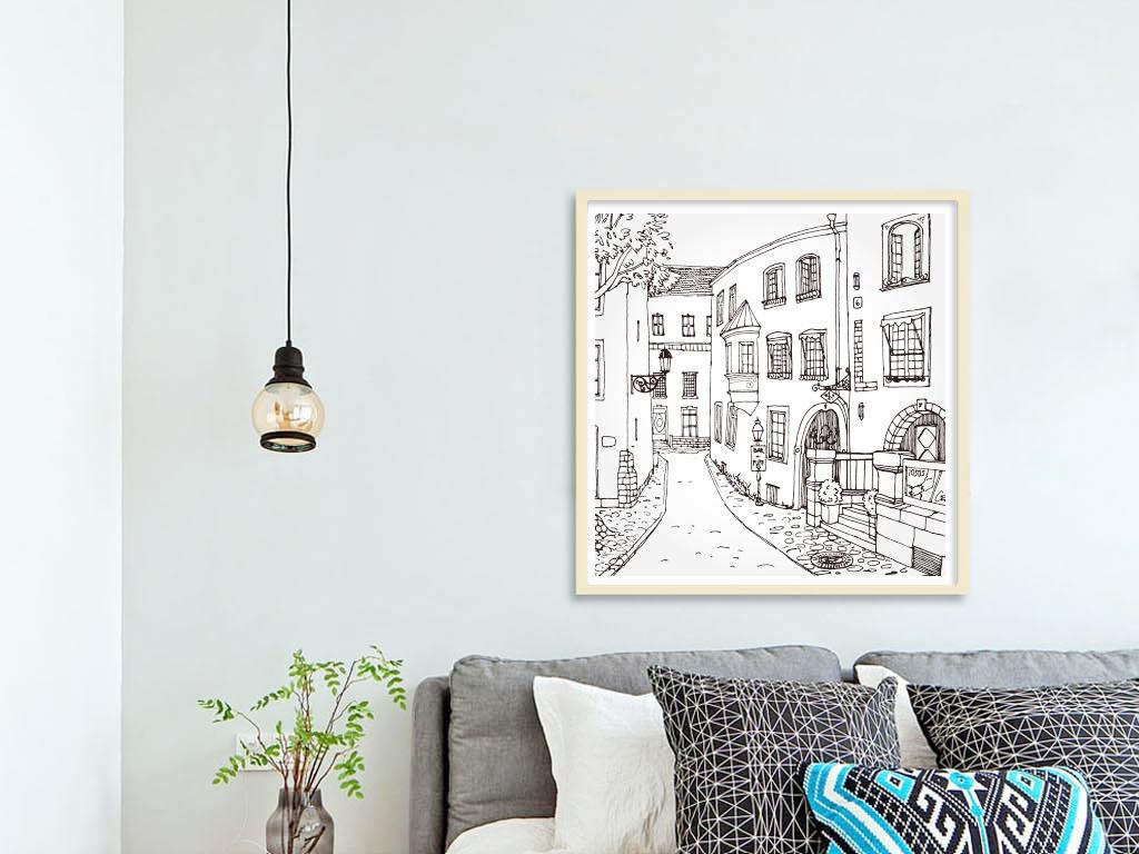 手绘街道                                  手绘城市黑白手绘