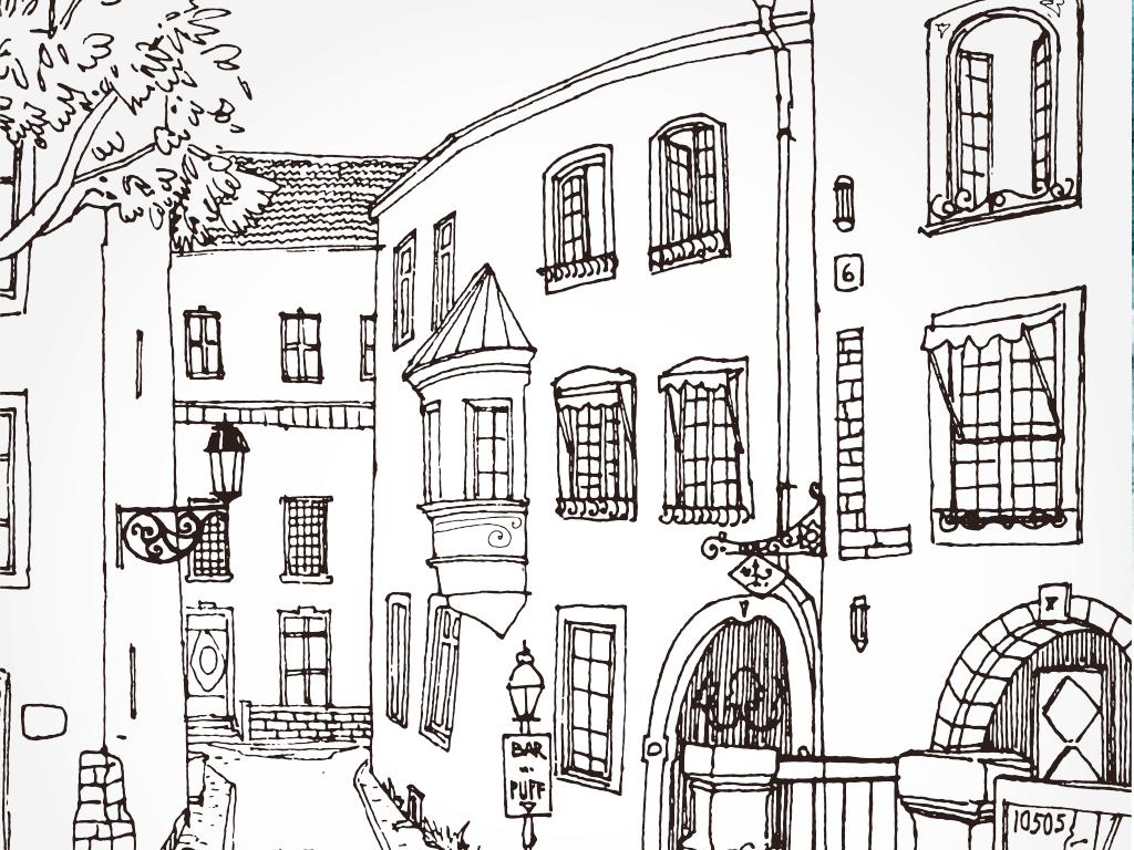 手绘素描线稿建筑素描稿街道树木城市路灯人群楼房线稿背景画背景墙