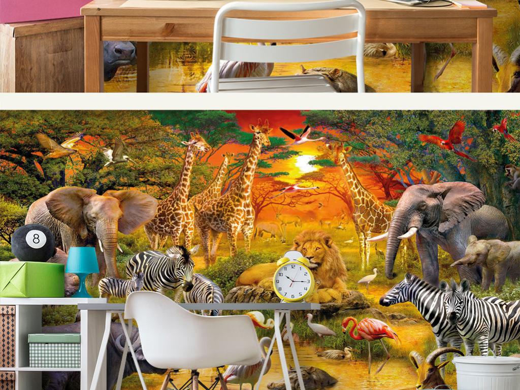 金色阳光照射森林草地池塘动物世界儿童背景