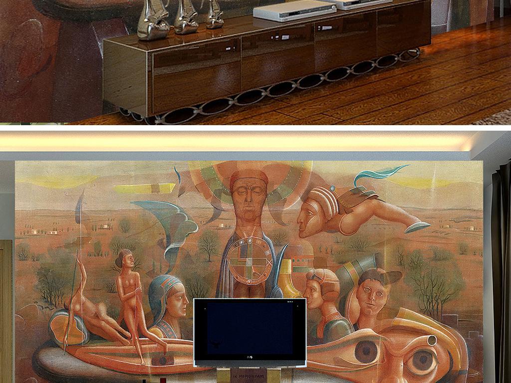 墙绘图案高清背景墙大图客厅背景墙室内背景墙形象墙装饰画人物壁画