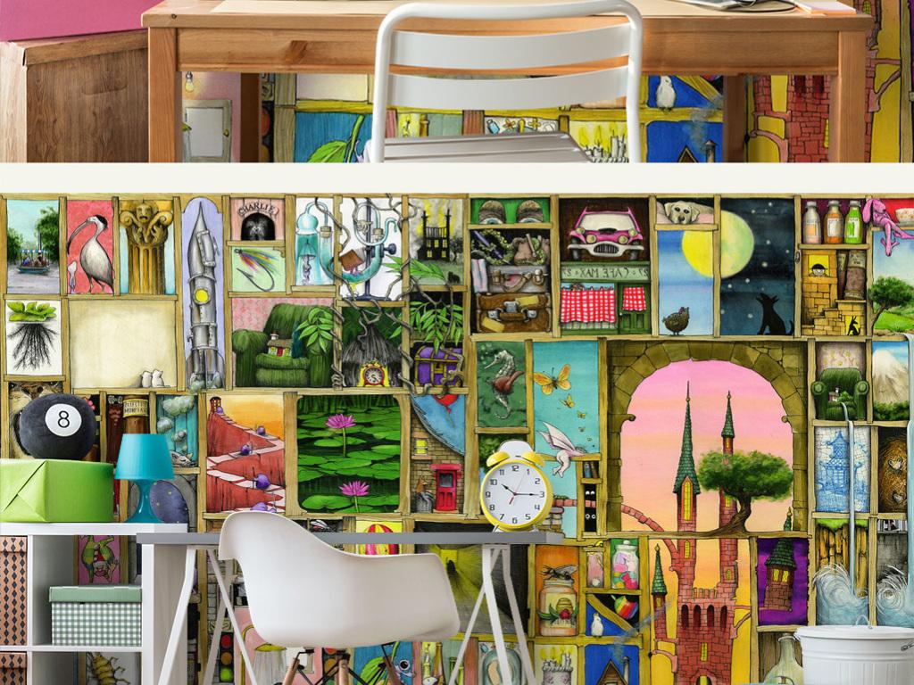 背景墙童话故事男孩卧室女孩幼儿园可爱儿童房彩绘