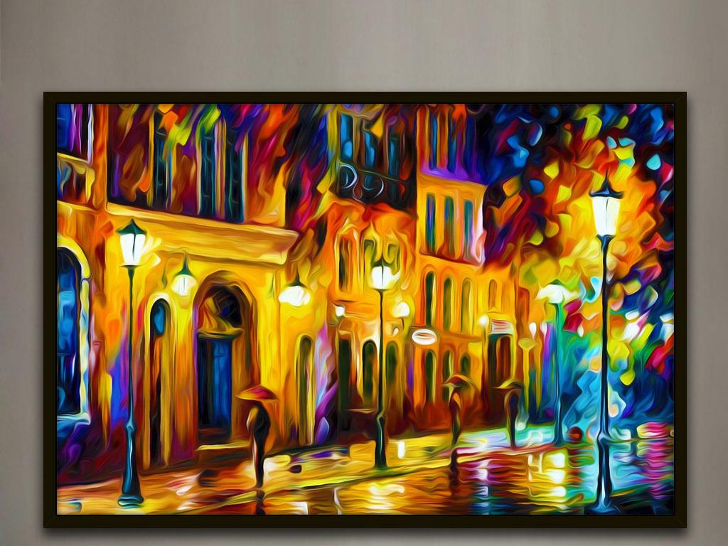 洛杉矶老街夜景绚丽色彩手绘欧式家居装饰画