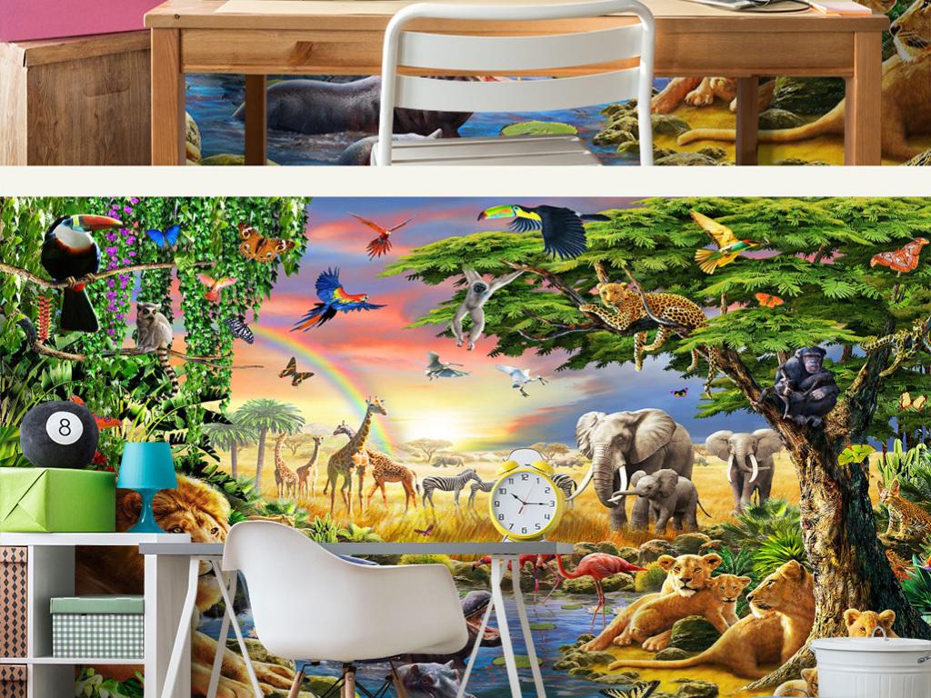 绿色树林彩虹荷塘动物世界儿童房背景墙