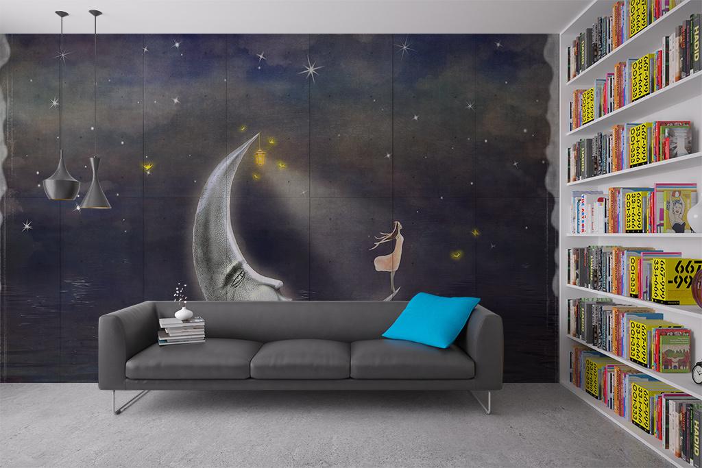 背景墙|装饰画 电视背景墙 儿童房背景墙 > 手绘月亮上的女孩背景墙