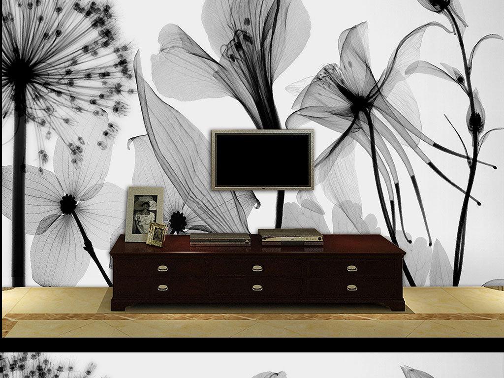 黑白花简约背景墙