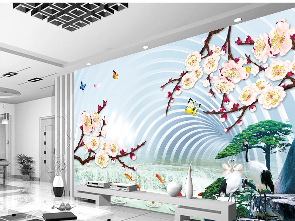 3d山水画立体客厅电视背景墙