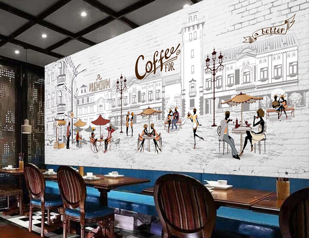 桌子房屋房屋建筑手绘建筑手绘街道咖啡