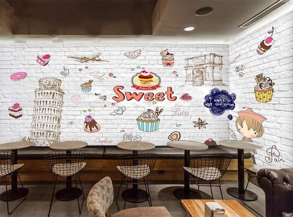 欧美手绘蛋糕店酒吧咖啡店背景墙