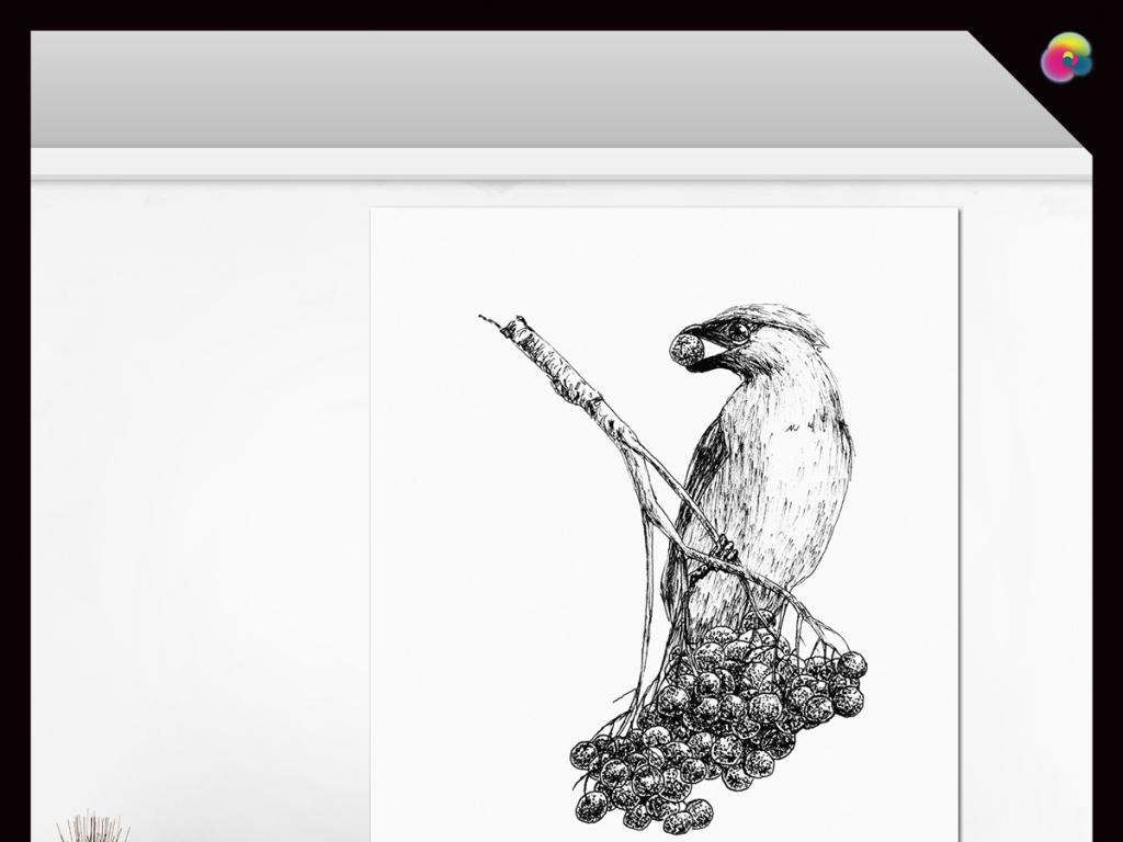 高清手绘简约花鸟电视背景墙无框画(图片编号:)_动物