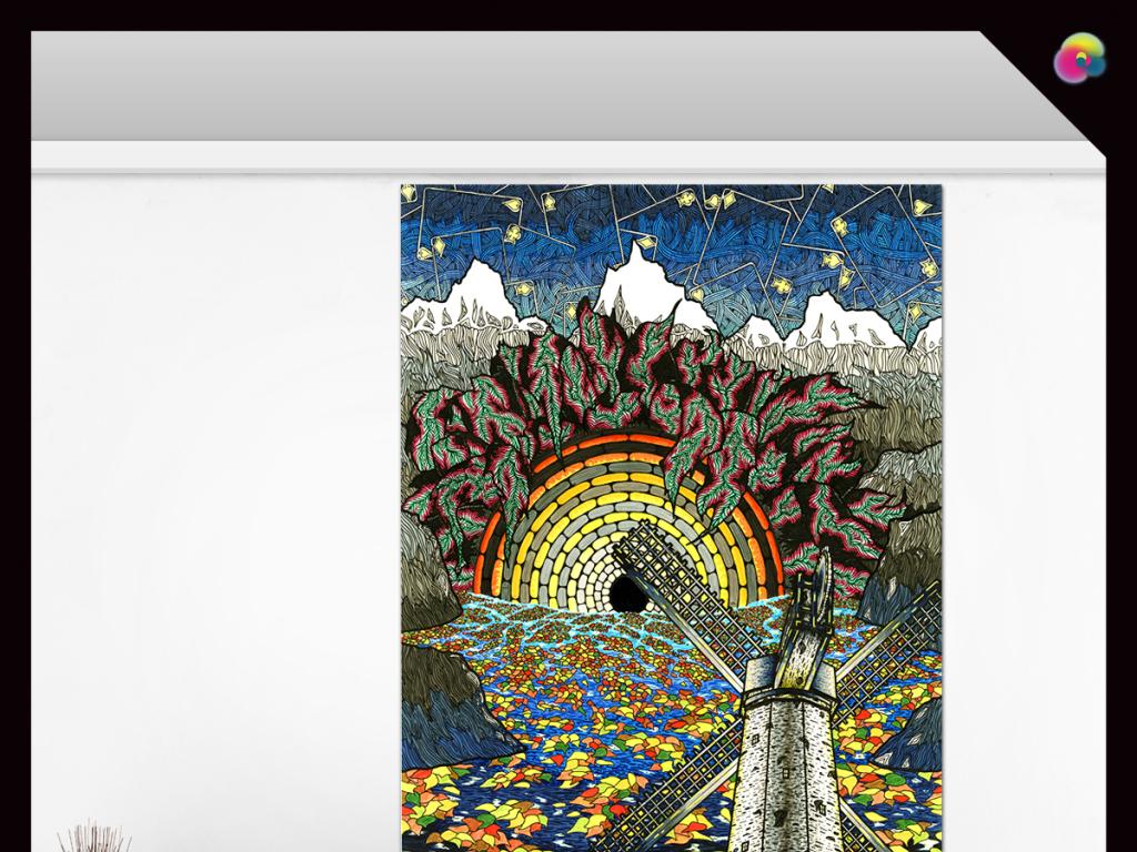 手绘抽象几何线条电视背景墙装饰画