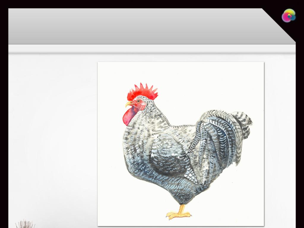 现代简约动物公鸡水彩画玄关背景装饰画