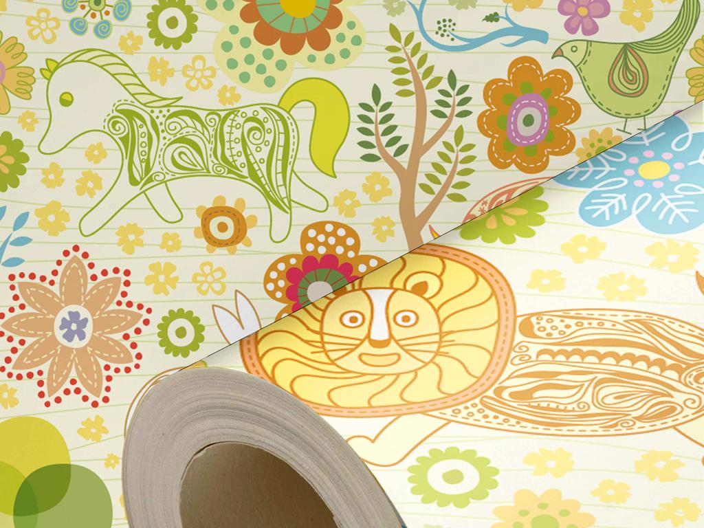 复古卡通动物儿童房墙纸壁纸