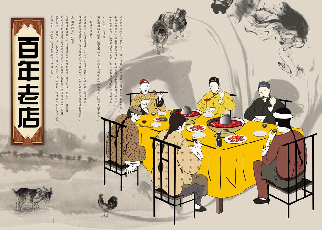 火锅店背景手绘古代人物老北京