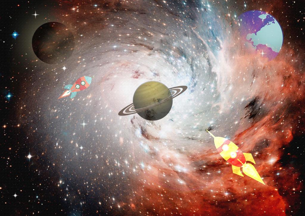 梦幻宇宙星空主题卡通背景墙图片