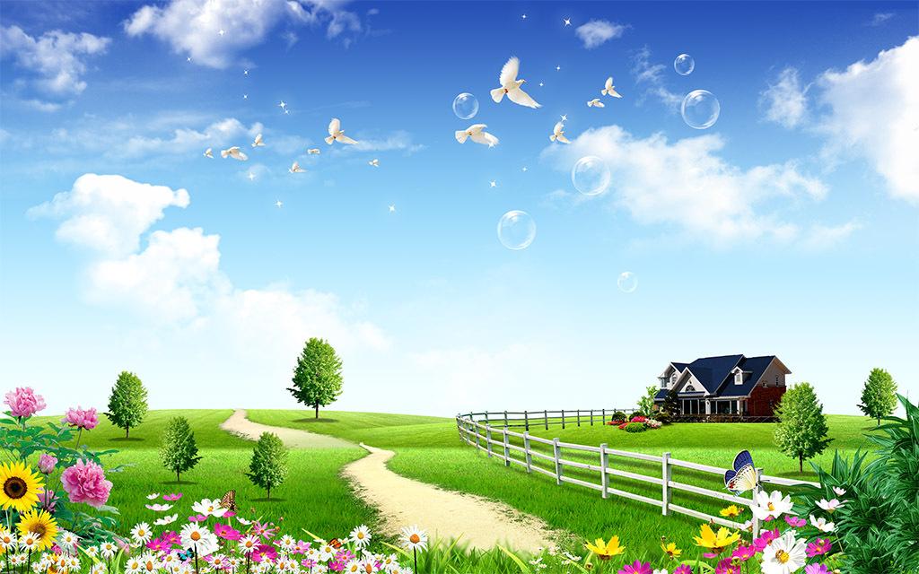 风景画花草树木别墅风景壁画图片