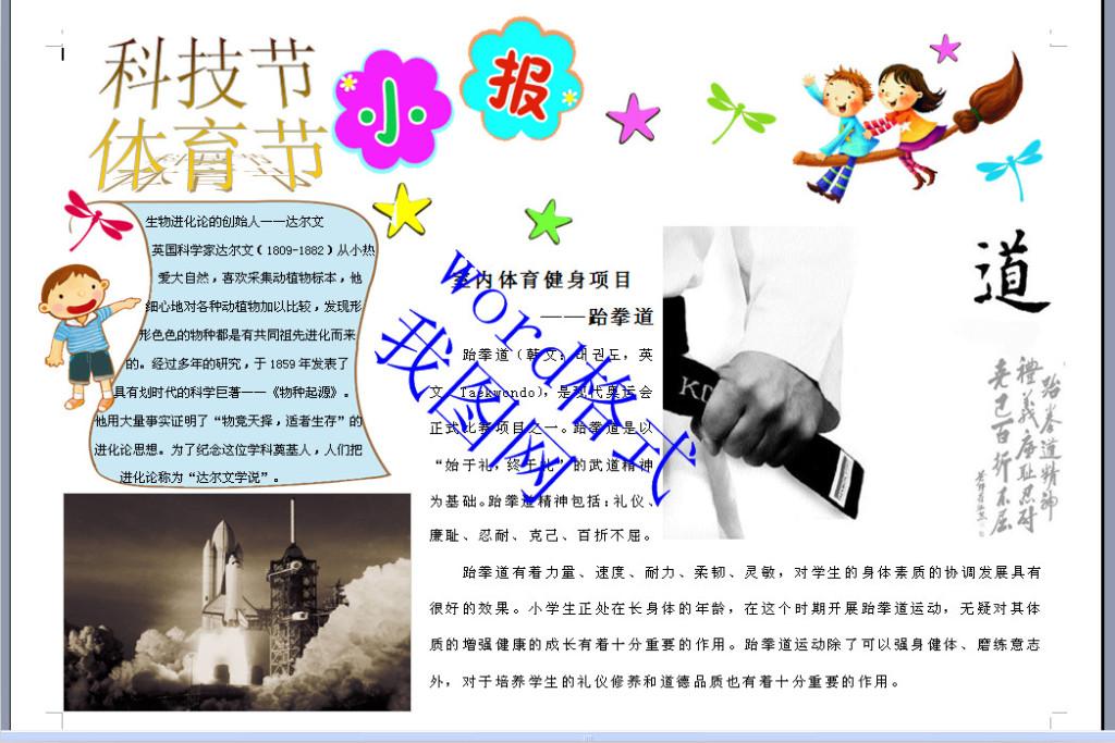 word版a3科技节体育节小报
