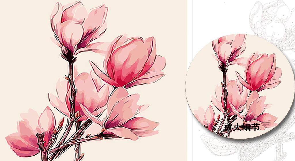diy数字油画线稿图设计稿矢量图花卉海棠