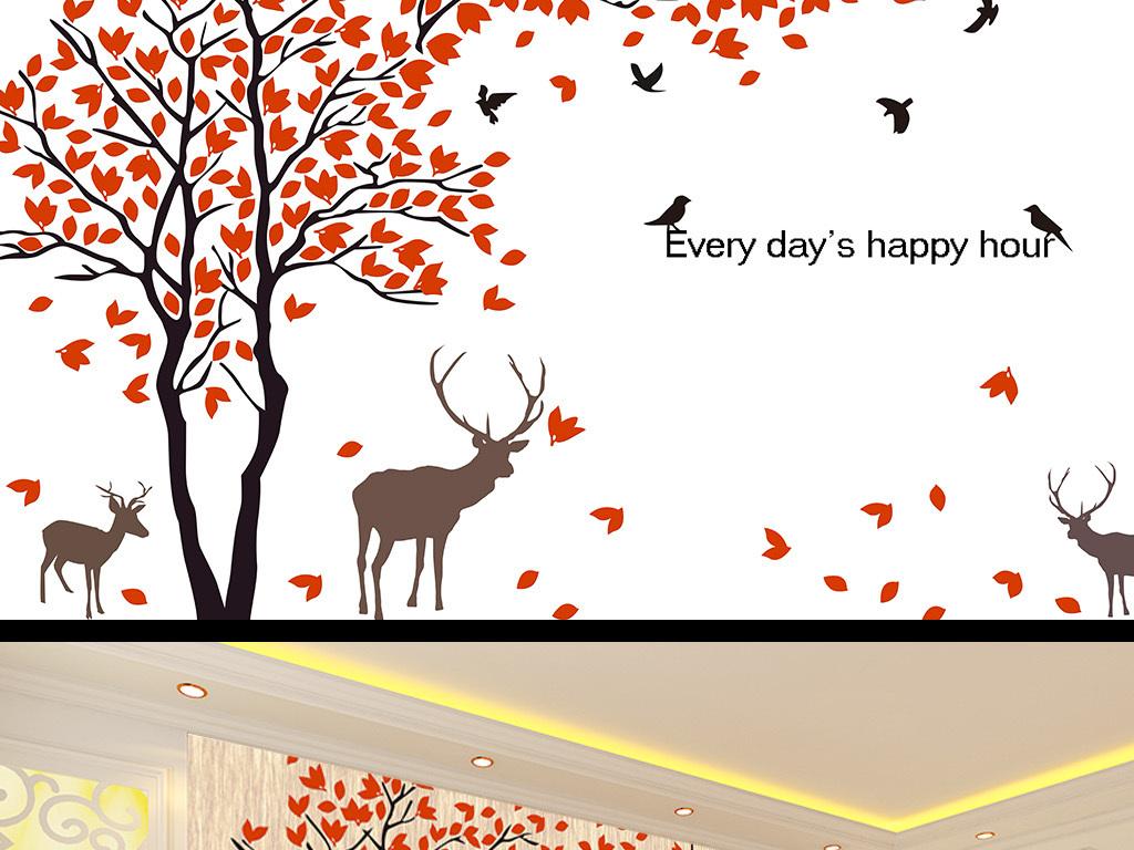 温馨一家人大树小鸟小鹿壁画背景墙