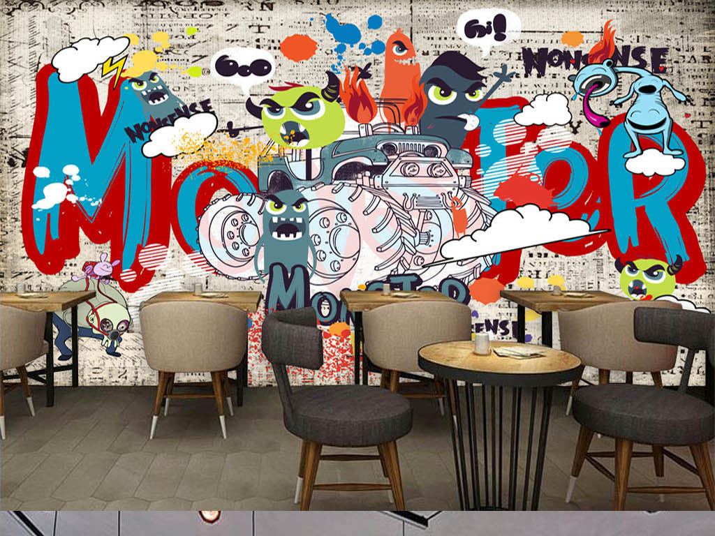 设计作品简介: 欧美潮流手绘街头涂鸦酒吧ktv背景墙 位图, rgb格式