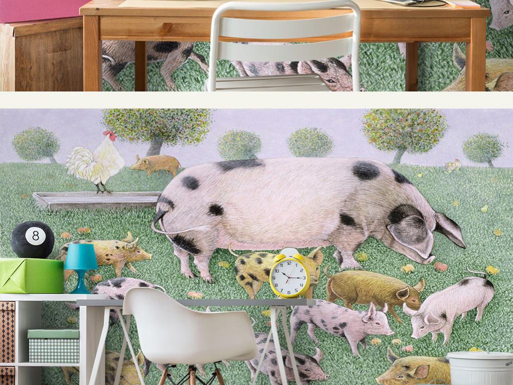 童话故事男孩卧室女孩幼儿园可爱儿童房壁纸儿童房墙纸儿童房模型儿童