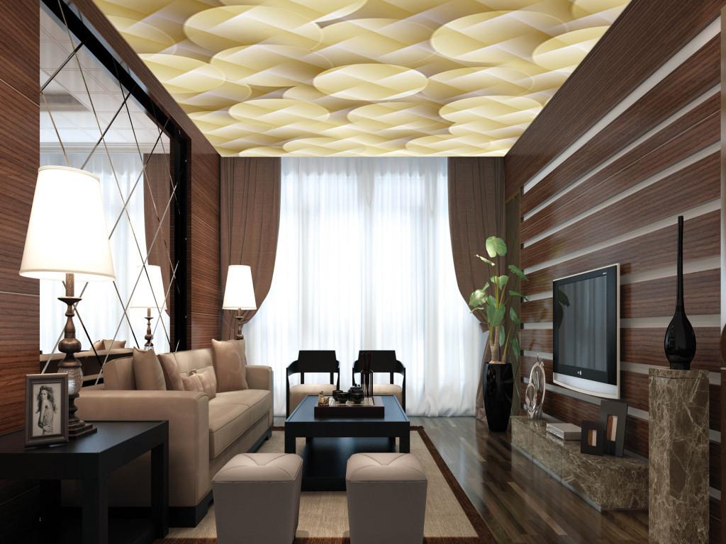 欧式吊顶3d立体天花板壁纸顶棚壁画模板