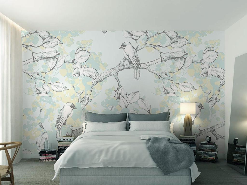 淡雅现代北欧风格手绘树叶鸟儿电视背景墙