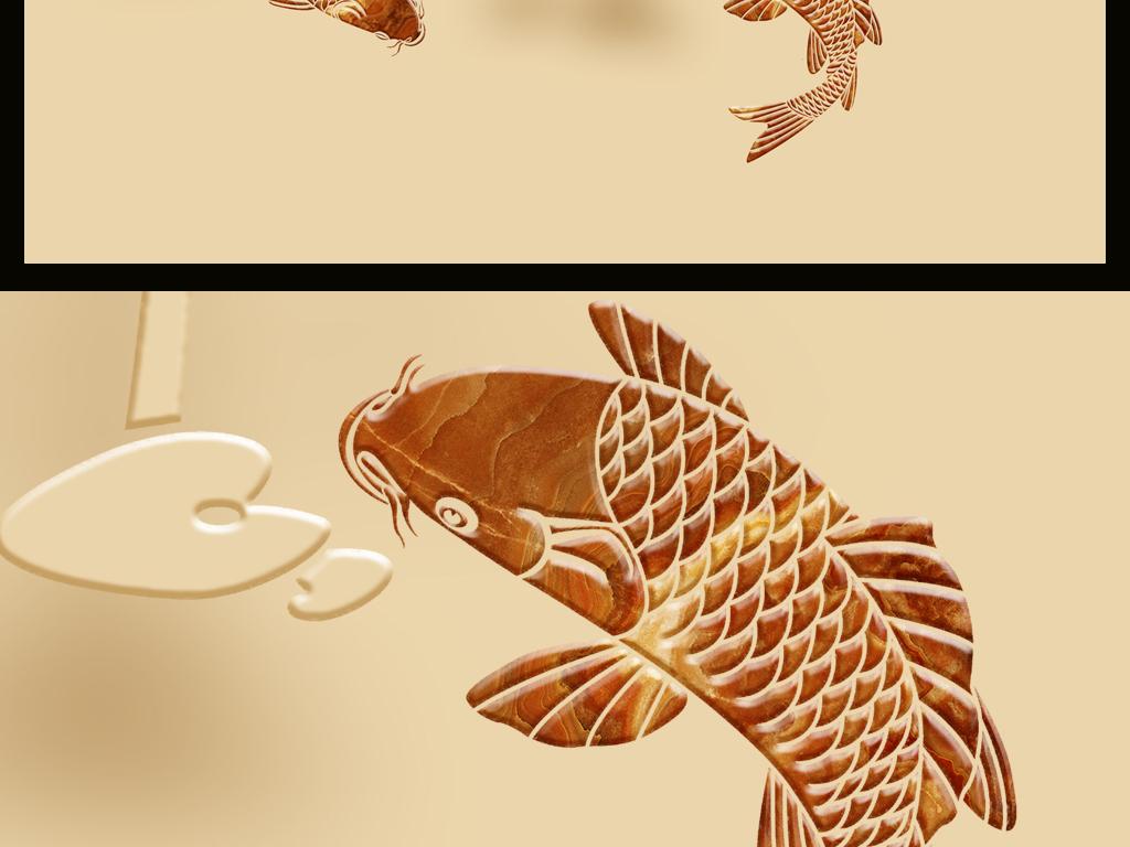 锦鱼荷花浮雕玄关背景墙
