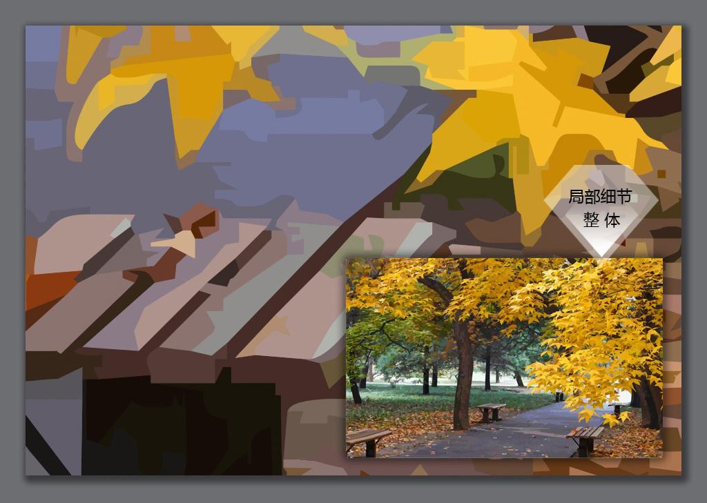 手绘银杏树电视背景墙