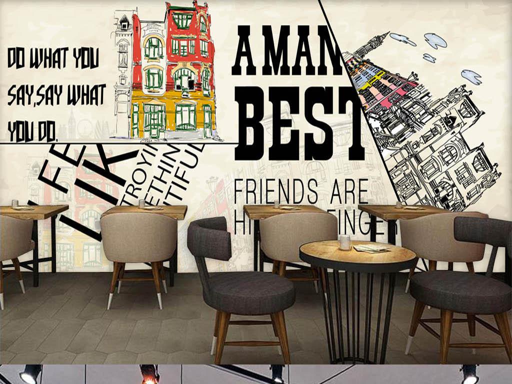 欧美时尚手绘建筑酒吧咖啡店背景墙