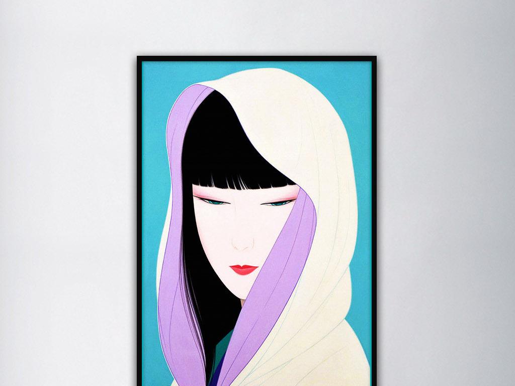 穿披风的女子日本手绘治愈系现代家居装饰画