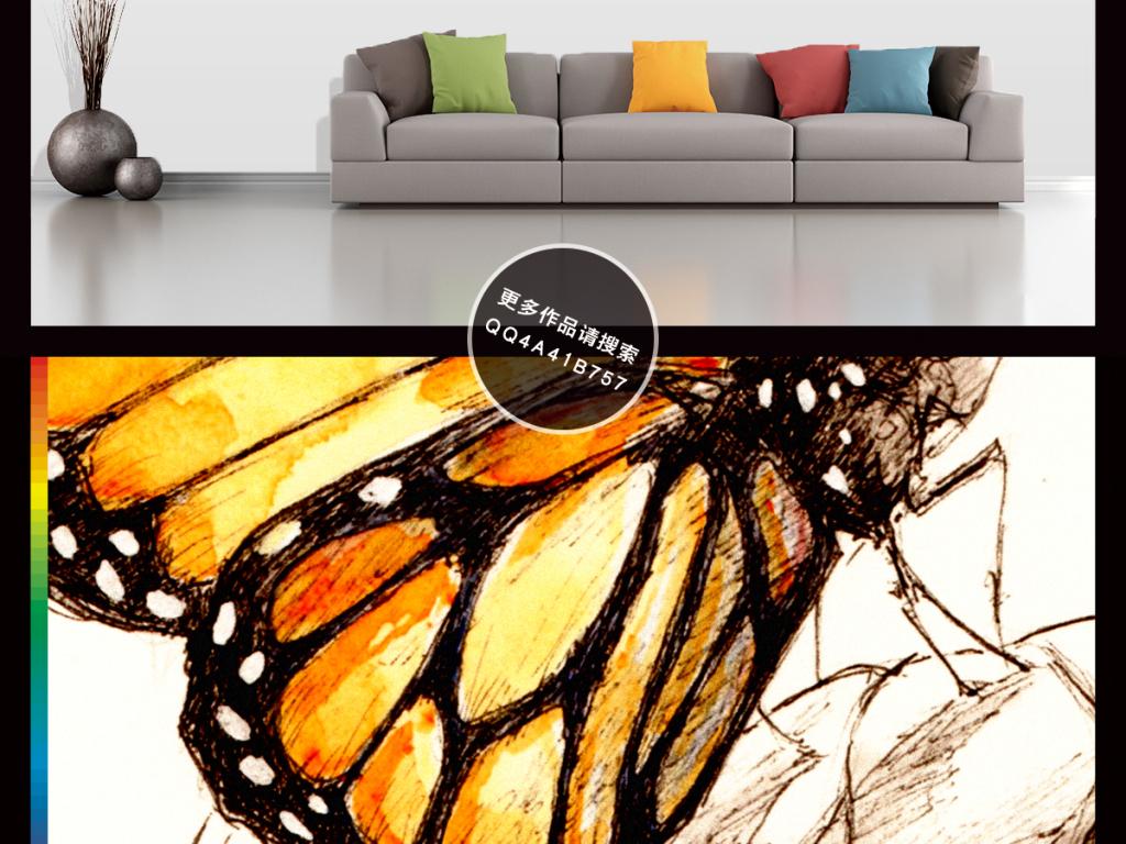 高清手绘工笔画花鸟图背景墙装饰画