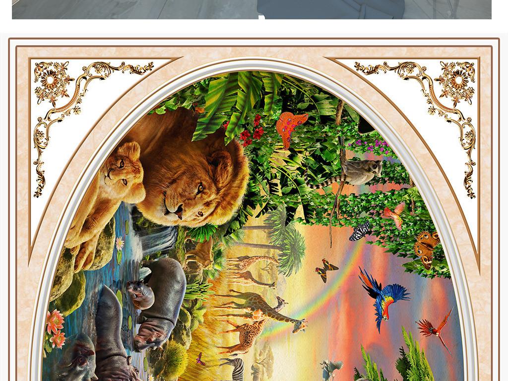森林动物壁画图片大全