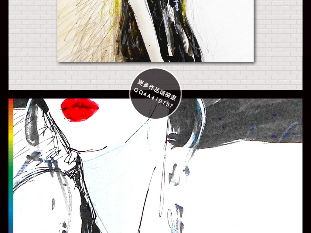 烈焰红唇手绘抽象美女半身绘画人物装饰画