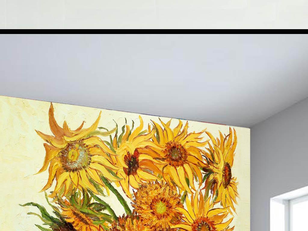 背景墙 电视背景墙 中式电视背景墙 > 手绘向日葵插画水彩画玄关背景