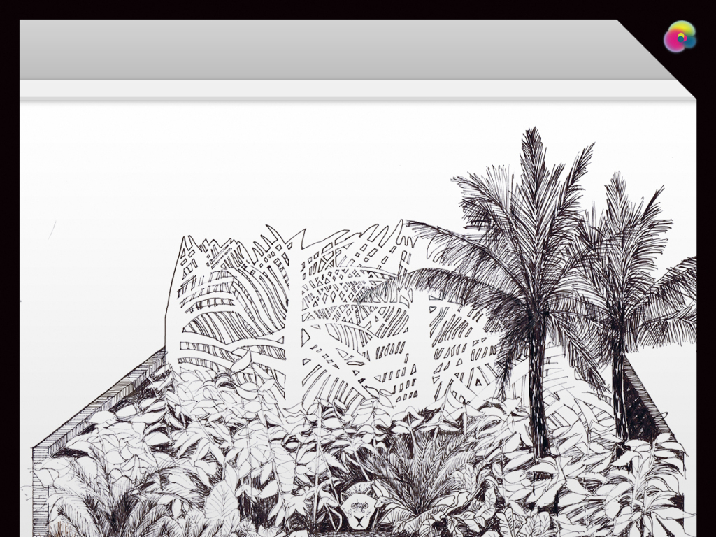 现代手绘线描城市风景速写电视背景墙图片