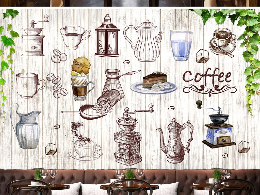 手绘复古咖啡店背景墙(图片编号:15575373)_酒店|餐饮